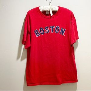 BOSTON RED SOX Men's Red Graphic Logo Tee